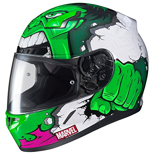 HJC Marvel Unisex-Adult CL-17 Hulk Motorcycle Full Face Helmet (MC-4, Large)