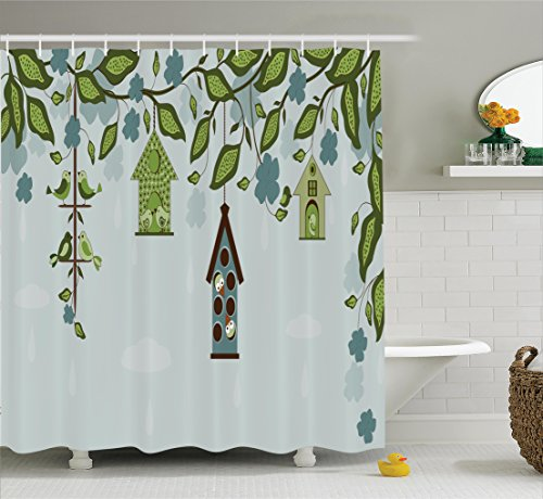 Ambesonne Flying Birds Decor Collection, Birds Sitting in Cages Hanged on Elegant Floral Tree Branches Peace Blossom Decor , Polyester Fabric Bathroom Shower Curtain Set with Hooks, Green Blue (Sitting Bird)