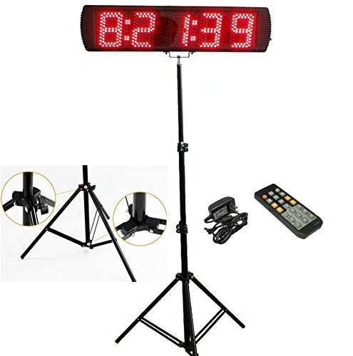 Event Digital Timer - GANXIN Portable 5'' High 5 Digits LED Race Clock with Tripod for Running Events, Countdown/up Digital RaceTimer, by Remote Control