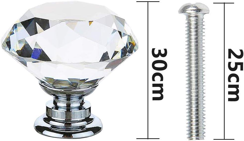 Base Aleaci/ón Aluminio,30MM Pomo para Muebles de Vidrio Transparente,LLMZ 10 Piezas Tirador Puerta Cristal Muebles,Pomo Cristal Diamante,Pomo Armario Decorativo Estilo Moderno Con Tornillos