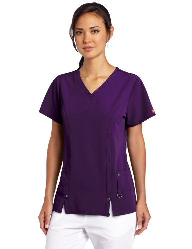 Dickies Women's Xtreme Stretch V-Neck Scrubs Shirt, Eggplant, XXXX-Large (Best Fitting Scrubs For Plus Size)