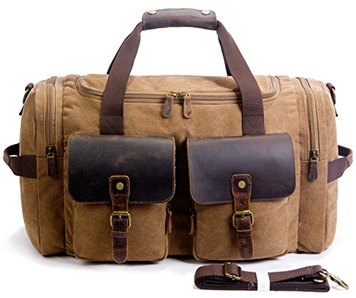 SUVOM Canvas Duffle Bag Leather Weekend Bag Carry On Travel Bag Luggage Oversized Holdalls for Men and Women(Coffee)