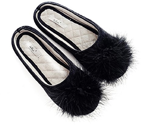 Slip Comfortable Anti Home Washable House Chic Slip Women Chic Slipper Shoes Black On Knit vqnwfZE