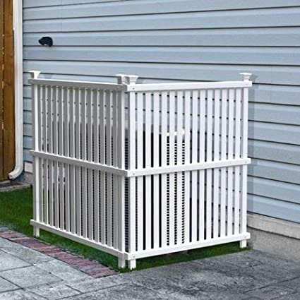 White Mac Outdoor Garbage Can Enclosures, Privacy Screen Concealer with 2  Panels, Patio Garden Screen Panels, All Seasons Space Divider,Rubbish Wrap,