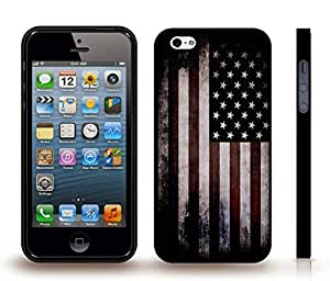 iStar Cases? iPhone 5/5S Case with American Flag Distressed Grunge Dark Look Design , Snap-on Cover, Hard Carrying Case (Black)