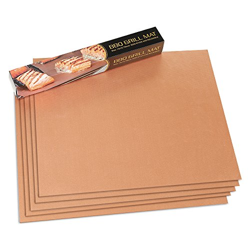 HUKOER Gold Grill Mat Set of 5 - 100% Non-stick BBQ Grill & Baking Mats - FDA Approved, PFOA Free, Reusable and Easy to Clean - Works on Gas, Charcoal, Electric Grills - 15.75 x 13 inches (5)