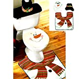 Samber Christmas Toilet Three-piece Set Santa Claus Toilet Seat Covers Bathroom Mat Tissue Box Cover Water Tank Cover Christmas Bathroom Decoration/1 Set