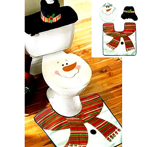 Samber Christmas Toilet Three-piece Set Santa Claus Toilet Seat Covers Bathroom Mat Tissue Box Cover Water Tank Cover Christmas Bathroom Decoration/1 Set by Samber