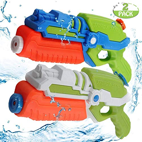 (POKONBOY 2-Pack Water Guns Water Blaster 500ml Large Capacity Squirt Gun, Shoots Up to 35 Ft- Game Fun Far Range Party Favor Toy for Kids Summer Beach)