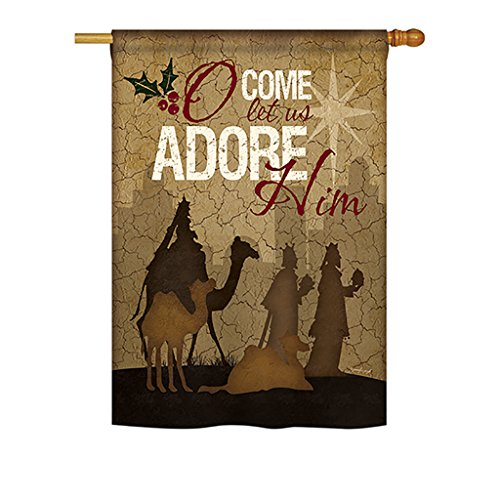 Let Us Adore Him Large Flag 28 inches by 40 inches -  Breeze Decor, BD-NT-H-114111-IP-BO-DS02-US