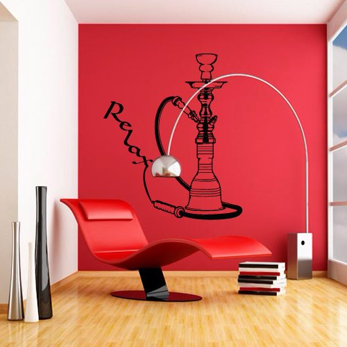 Wall Decal Sticker Hookah Hooka Shisha Lounge Relax Inscription Bar Hause M1571 ()