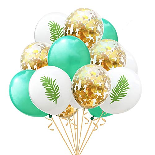 Gold Hawaii Confetti Party Balloons,15 Pcs Pineapple Tropical Leaves Hawaii Party Balloons for Hawaii Luau Party Birthday Wedding Theme Party Decorations(2) -