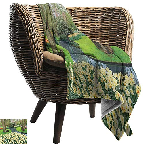 300gsm Sheets 50 (Summer Blanket,Spring,Flower Garden in Recreation Park with Fresh Grass Field and Pond Nature Scene, Green and Brown,300GSM, Super Soft and Warm, Durable 50