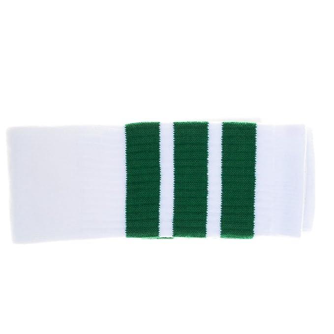 Choobes (Unisex) 22 pulgadas de la rodilla alta blanco tubo calcetines con rayas verdes