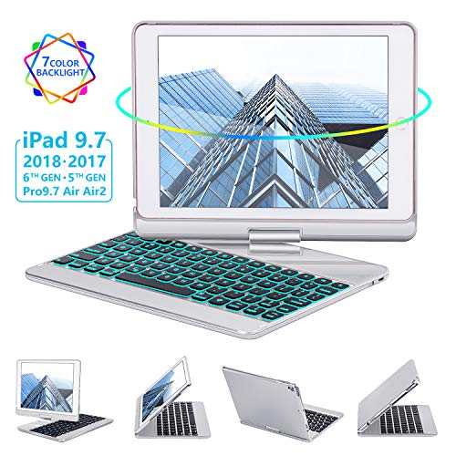iPad Keyboard Case 9.7 for iPad 2018 (6th Gen) - 2017(5th Gen) - iPad Pro 9.7 - Air 2 & 1, 360 Rotate 7 Color Backlit Wireless/BT iPad Case with Keyboard, Auto Sleep Wake, 9.7 inch, Silver ()