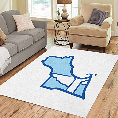 Pinbeam Area Rug Colorful Island New England Map Outline Rhode America Home Decor Floor Rug 2' x 3' Carpet