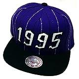 Toronto Raptors Mitchell & Ness 1995 Est. Striped Purple Black Snapback Hat Cap