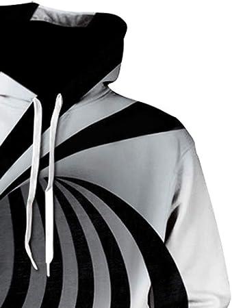 ZODOF Sudaderas con Capucha Hombre 3D Impresión Unisex Sudaderas Cuello Redondo Manga Larga Hoodie Sweatshirt de Mangas Largas Bolsillos