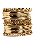 Bindhani Traditional Wedding Gold-Plated Bangles Bracelets Set For Women (Mehandi, 2-10)