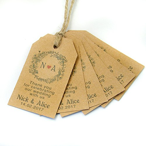 50 PCS Personalized Paper Tables Thank You For Celebrating- Custom Party Wedding Favor Hang Tags-For Wedding-Homemade for You (set of (Homemade Wedding Favors)