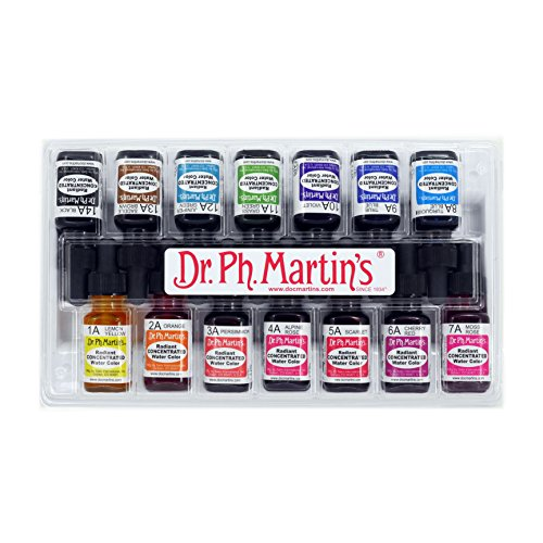 Dr. Ph. Martin's 400016-A Radiant Concentrated Water Color Bottles, 0.5 oz, Set of 14 (Set - Tracking Shipping Standard International