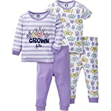 Gerber Baby 4 Piece Cotton Pajama Set, Crown, 12