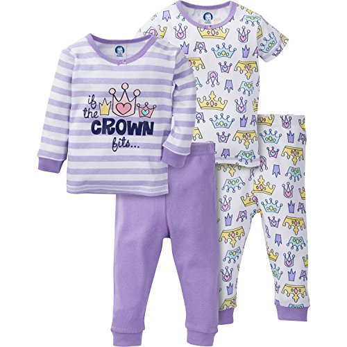 Gerber Toddler Girls 4 Piece Cotton Pajama Set, Crown, 3T (Sleeve Pajamas Toddler Long Girls)