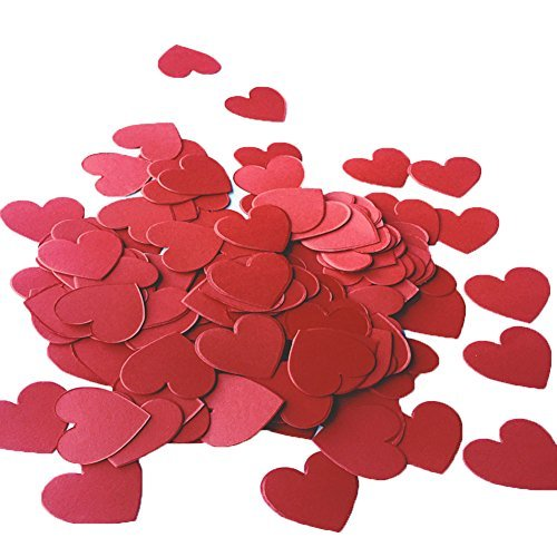 MOWO Hot Red Heart Paper Confetti Wedding Birthday Party Favors Love Theme Table Scatter Decorations, 1.2 inch, 200pc -