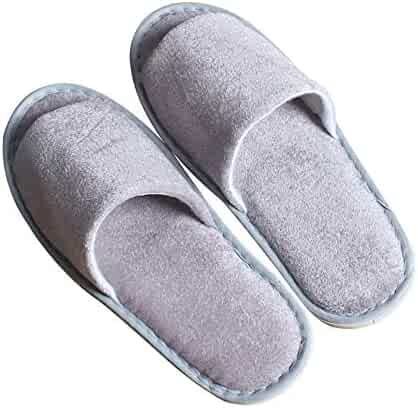 8103a5f62 5 Pair of Open Toe Breathable Slippers, Spa Slippers for Guests, Hotel,  Travel