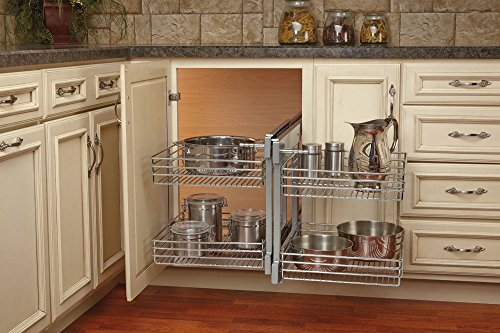 Rev-A-Shelf - 5PSP-18-CR - 18 in. Blind Corner Cabinet Pull-Out Chrome 2-Tier Wire Basket Organizer by Rev-A-Shelf (Image #1)