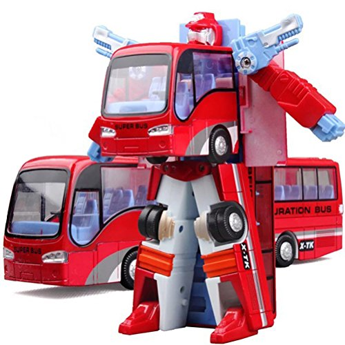 HAPTIME 7.8 inch Bus Robot Action Figure Coach Bus Transform to Robot Fighter for Kids Children Boys, Great Gift for Birthday Christmas (Red) (Transformer School Bus)