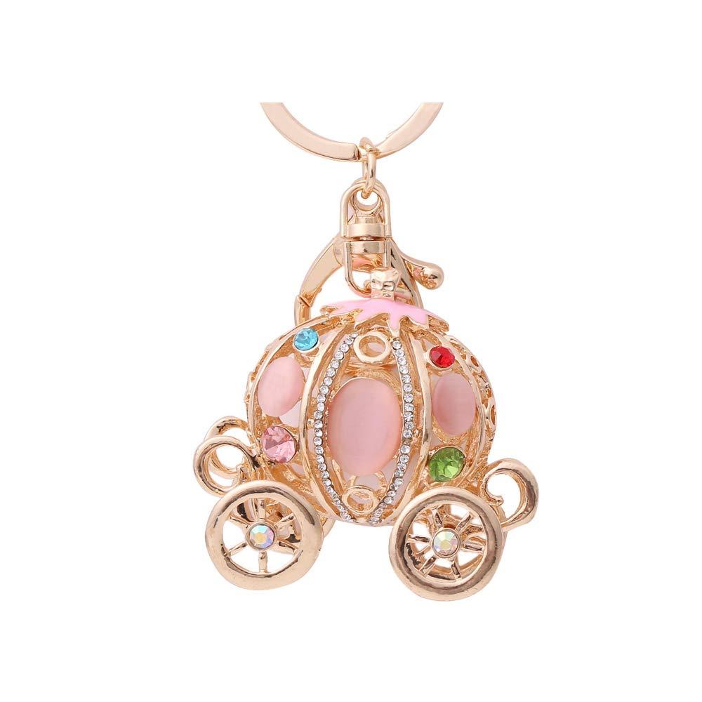 QTKJ Cute Crystal Pumpkins keychains for Women Handbag Bag Pink Key Ring
