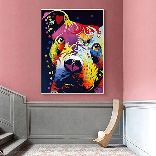 DZXGY Wall Art Canvas Painting, Thoughtful Pitbull Warrior Heart Oil Painting for Living Room Decorative Paintings (No Frame) 50X70cm