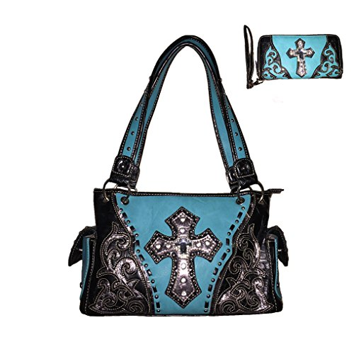 New Style Premium Rhinestone Studded Cross Leather Handbag Purse with Matching Wallet. One Set in 4 Colors. (Turq)