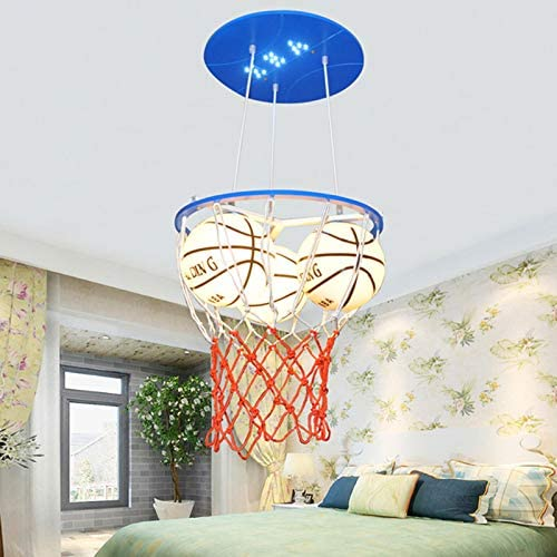 LITFAD Modern Glass Basketball Hanging Light Boys Room Pendant Lighting Height Adjustable 3 Heads LED Pendant Chandelier