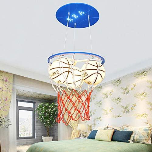 LITFAD Modern Glass Basketball Hanging Light Boys Room Pendant Lighting Height Adjustable 3 Heads LED Pendant Chandelier