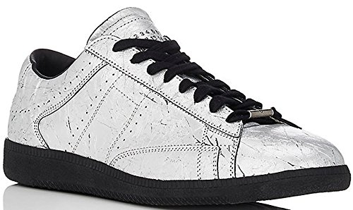 Maison Margiela 22 Wrinkled Metallic-Silver Leather Low-Top Sneaker (11 US/44 - 11 Maison Martin Margiela