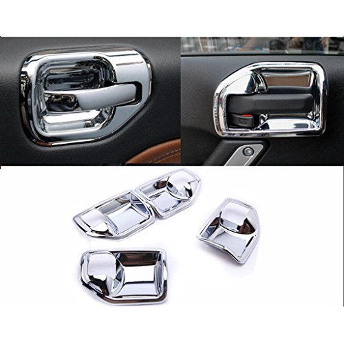 Wotefusi Car New Chrome Interior Door Handle Bowl Covers Inner Molding Trim Pieces Set For Jeep Wrangler 2007-2015 2008 2009 2010 2011 2012 2013 2014
