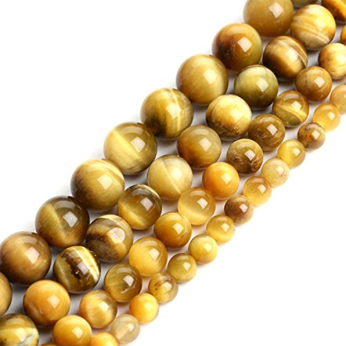 iSTONE Natural Gold Tiger Eye Gemstone Loose Round Beads 8mm Spacer Beads for Jewelry Making 15.5