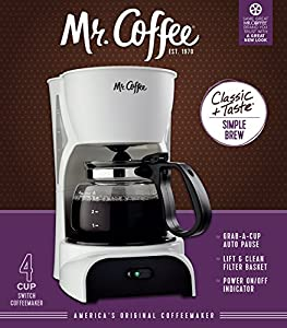 Mr. Coffee DR5 4-Cup Coffeemaker, White
