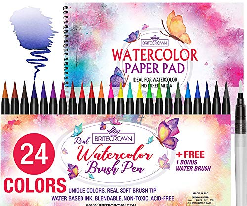 Watercolor Brush Pens Kit of 24 Colors + 1 Water Brush Blending Pen + 15 Sheet Watercolor Paper Pad Sketch - Supplies Art Drawing