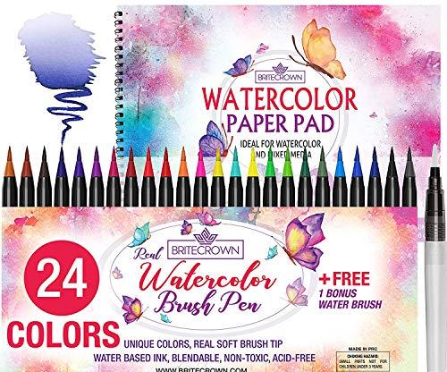 Ultimate Art Supply Kit - Watercolor Brush Pens Kit of 24 Colors + 1 Water Brush Blending Pen + 15 Sheet Watercolor Paper Pad Sketch Book