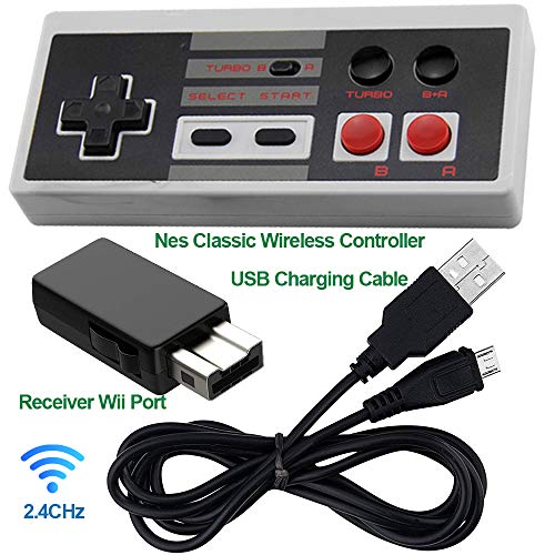 NES Classic Edition Mini Controller -TURBO EDITION-Rapid Buttons for Nes Gaming System with 2.4G Wireless Receiver by AWMCY