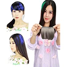 BarRan Human Hair One Piece Clip in Hair Bangs Fringe Straight Hairpiece Extensions (Grey)