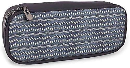 Estuche para lápices, colección náutica duradera Patchwork de tela vaquera en estilo náutico Stitch Stripes Jeans Zig Zag Chevron Image, azul marino: Amazon.es: Oficina y papelería