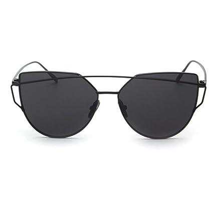 Bestow Gafas de sol para mujer, montura de metal, efecto espejo, diseño de ojos de gato, negro