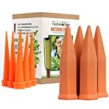 Terracotta Water Spikes for Plants - Set of 4 Watering Stakes - 6 Bonus Plastic Watering Spikes