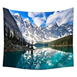 QCWN Snow Mountain Forest Azure Blue Lake Under Cloudy Sky Landscape Home Decor Wall Art Tapestry Bedroom Living Room Dorm. Multi 59x51Inc