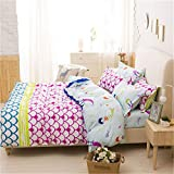 SHADEHAO Pink Bedding Sets for Girls Cute Mermaid and Scales Pattern Printed Comforter Duvet Cover Set Pillow Cases Blue Multicolor UK Single 135x200cm