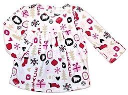 Assorted Baby Girls\' Blanket Fleece Long Sleeve Dress Up Shirt / Blouse (12 Months, White)